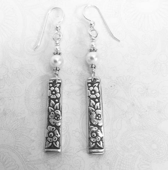 Dangle Spoon Earrings with White Pearls, 'Venetian Garden' 1971