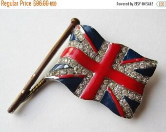 HOLIDAY SALE Vintage 40s Crown Trifari Rhinestone Enamel Union Jack British Flag Silver Brooch Pin