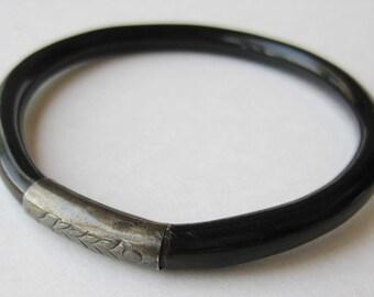 Vintage Chinese Black Coral Sterling Silver Ornate Bangle Bracelet