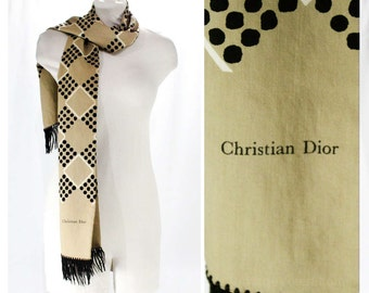 60s Christian Dior Scarf - Mod 1960s Camel Tan & Black Wool with Fringe - Rectangular Coat Scarf - Fall Winter - Made in Italy - 48409