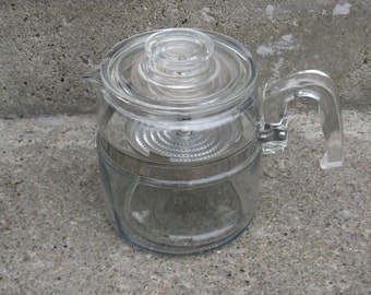 pyrex glass coffee pot glass insert 6 cups pyrex glass percolator mid century kitchen