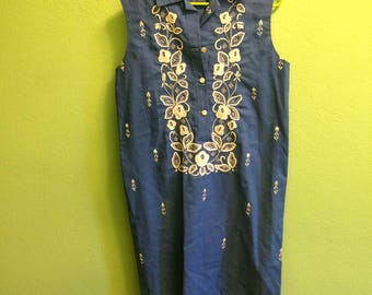 60s embroidered shift dress large xl plus size bust 41 waist 41