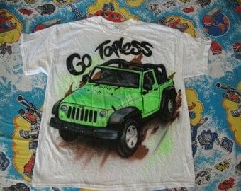 Airbrush Art Jeep Go Topless strip club skateboard rap hip hop punk rock T shirt XL
