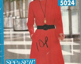 Vintage Butterick See and Sew 5024 Plus Size Women's Dress Pattern  SZ 16-24