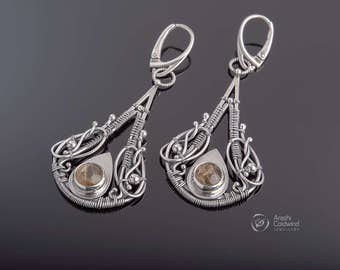 Evellienn - a wirewrapped fine and sterling silver earrings with rutilated quartz cabochon - long earrings