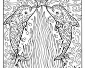 Christmas Dolphins Coloring page Adult Coloring Beach Color book