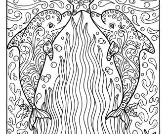christmas dolphins coloring page adult coloring beach color book - Color Book Images