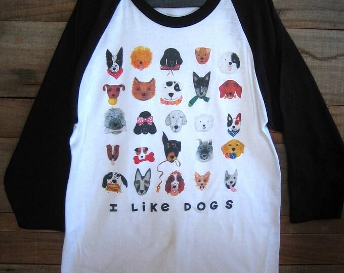 I Like Dogs Unisex Baseball T Shirt