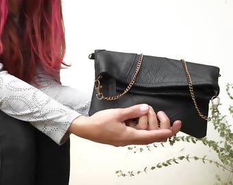 Leather foldover crossbody bag, Black fold over clutch, foldover leather bag, leather crossbody small leather bag  clutch bag Foldover purse