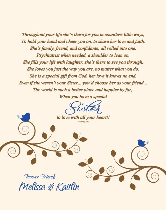 Sister Christmas Gift Sisters Poem Sister Thank You