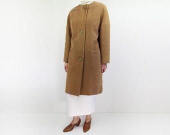 VINTAGE 1960s Coat Camel Suede Mod