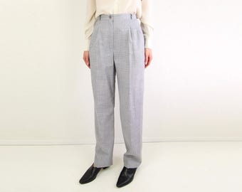 VINTAGE 1980s Pants Pin Striped Trousers High Waist Gray