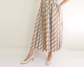 VINTAGE Striped Skirt Gathered Neutral