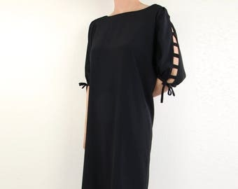 VINTAGE Black Shift Dress Cutout Sleeves