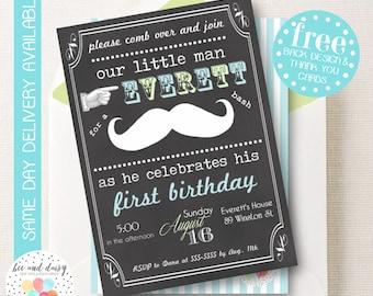 Mustache Invitation, Mustache Birthday Invitation, Mustache Party, Boy First Birthday, Boy Birthday, Chalkboard Mustache Invite