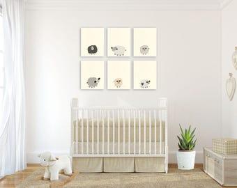 baby nursery art nursery art decor close up portraits set of prints for baby sheep - Beige Baby Room Decor