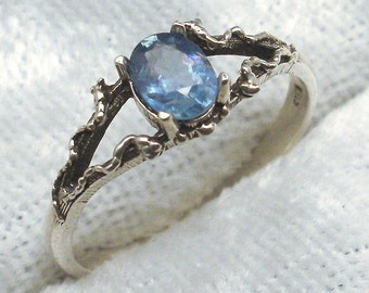 Cornflower Blue Sapphire, Mythological Stone Protector Ring, Recycled Sterling Silver