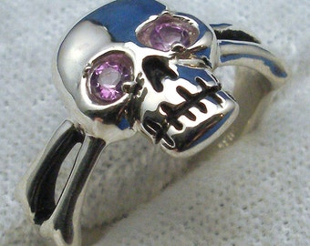Amethyst Eyes, Skull and Cross Bones Ring, February Birthstone, Hand Crafted, Handmade Recycled Sterling Silver Pirate ring, Jolly Roger
