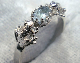 Natural Aquamarine Frogs Ring, Hand Crafted Recycled Sterling Silver, handmade, March birthstone