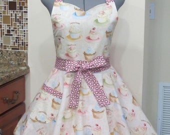 Sweet Elegant Retro Cupcakes Apron - Full of Flounce - Great Birthday gift