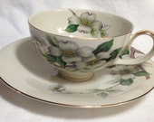 Vintage Meito Norleans Livonia Cup & Saucer / White Dogwood Pattern / 1940's / Made in Occupied Japan / MAKE AN OFFER