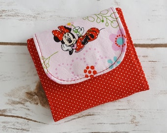 Mini Slimline Wallet - Minnie Mouse - Red Polka Dots - Pinks and Reds