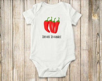 Too Hot, Pepper, Onesie, Bodysuit, Shirt, Baby Clothing, Farm, Local, Children Clothing