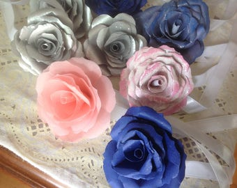 5 Handmade Paper Roses for Gift Toppers, Placecards, or cupcake Toppers