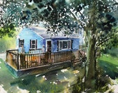 Reserved for Michele:  House Portrait Commission, 11x14, giclee print from my original watercolor painting