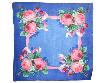 VINTAGE HANKIE, Watercolor Red Roses on China Blue Ground Linen Mid-Century, Hand Rolled Hem, Excellent Condition