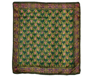 Indian Batik Silk Scarf Hand Printed Gorgeous Jewel Tone Green Fuchsia Pink Gold Paisley Floral Border 31 x 31 in. Perfect Dry Cleaned