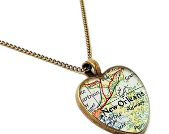 New Orleans Map Necklace. New Orleans Necklace. Made With A 1945 Vintage Map. Ready To Ship. Heart Map Pendant. Louisiana Map Jewelry.