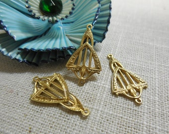 Brass Connector Earring Finding Deco Stamping Link Relic Charm