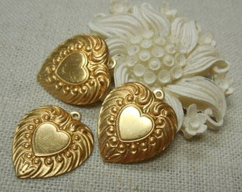 Brass Heart Charm Domed Puffy Stamping Decorative Detailed Valentine Relic Charm