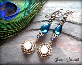 Sparkly Peacock Iridescent Earrings, Wire Wrapped Sterling Silver White Pearl Earrings, Mystical Aurora Borealis Glass Dangle Earrings