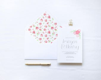 ADD ON: Envelope Liner | Kate Wedding Stationery Collection | Floral Hand Lettered Wedding Stationery