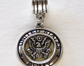 United States Army Dangle Pendant Military Charm Paracord Army Charm Leather Bracelet Army Charm Antique Silver Plated Arm Charm