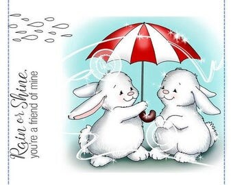 Whimsy Stamps -- Bunny Rainy Day  -- NEW -- (#2184) Crissy Armstrong Collection