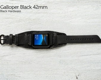 The Lowry Leather Cuff for Apple Watch Series 1 & 2 - Galloper Black with Black Hardware 42mm
