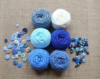 Crochet Kit to make Sky Blue Mini Pennant Bunting