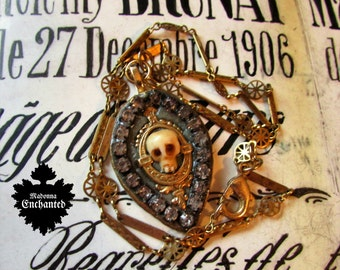Madonna Enchanted necklace memento mori skull jeweled relic one of a kind jewelry mourning assemblage goth gothic Victorian