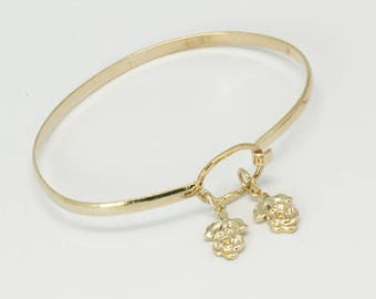 NEW GORGEOUS Gold Plated Bangle Bracelet with Twin Floral Design (GPBTF002)