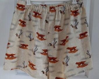 Retriever / Duck Hunting / Flannel Boxer Shorts / Men's Med