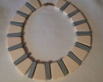 NAPIER LUCITE NECKLACE / Choker / Bib / Beige / Blue / Signed/ Haute Couture / Runway / Statement / Art Deco / Modernist / Jewelry Accessory