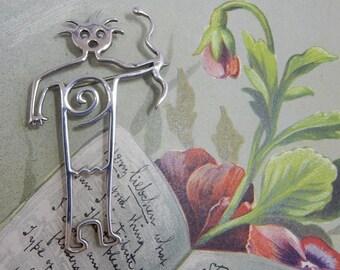 Artisan Signed HOPI Kachina Snake Dancer Modernist Sterling Silver Figural Brooch    OP12