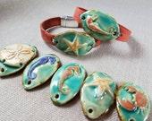 Beach Leather Bracelet - Sanddollar, Starfish, Seahorse or Crab Pendant - Leather Jewelry - Beach Bracelet