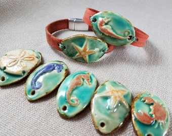 Beach Leather Bracelet - Sanddollar, Starfish, Seahorse or Crab Pendant - Leather Jewelry - Beach Bracelet