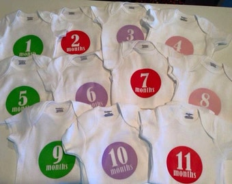 Monthly milestone bodysuits - circle style #1