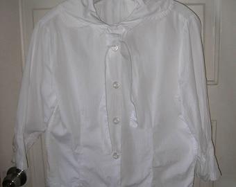 SALE Unique Vintage Women White Pilgrim Style Blouse