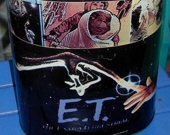 Vintage E.T. Movie Metal Trash Can